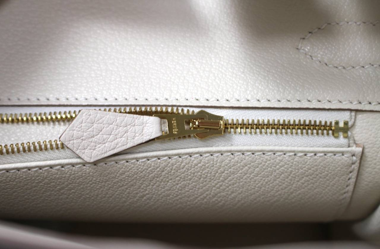 Hermes Birkin Bag in Craie Clemence with Gold- Bone color 30 cm 8