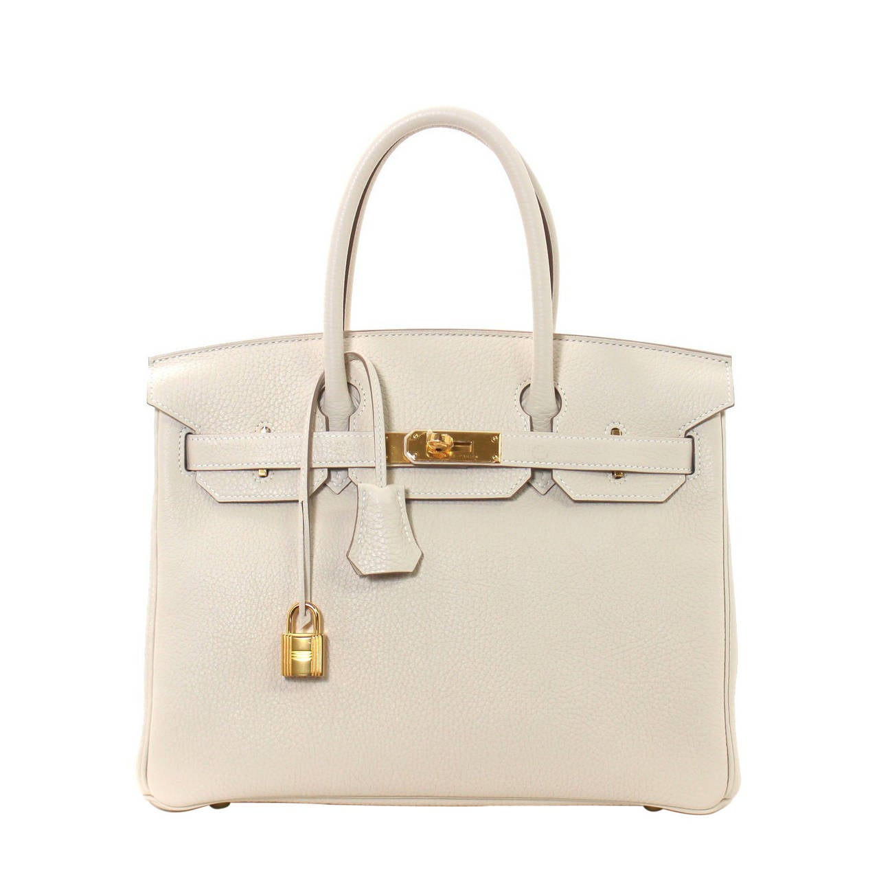 Hermes Birkin Bag in Craie Clemence with Gold- Bone color 30 cm 1