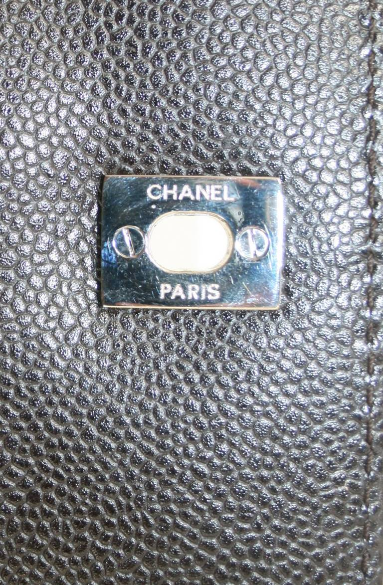 Chanel Brown Caviar Leather Vintage Tote Bag 9