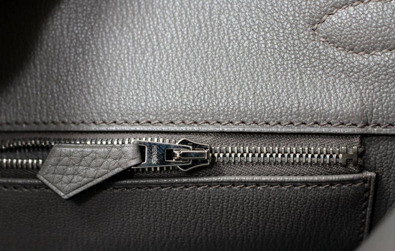 hermes paris handbags - Hermes Grey Etain Clemence Leather Birkin Bag- 35 cm size at 1stdibs