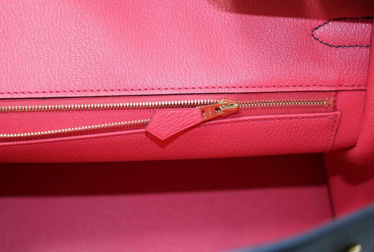 Hermes Birkin Chocolate and Rose Shocking Togo with Palladium Hardware 35