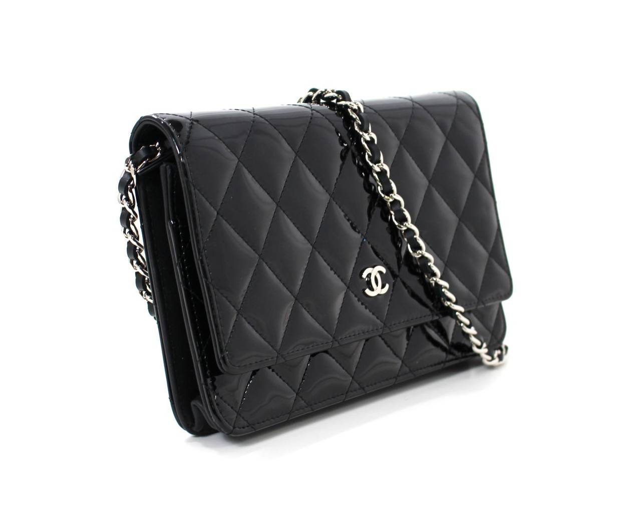da596f15f144c8 Chanel Black Patent Leather Wallet On Chain | Stanford Center for ...