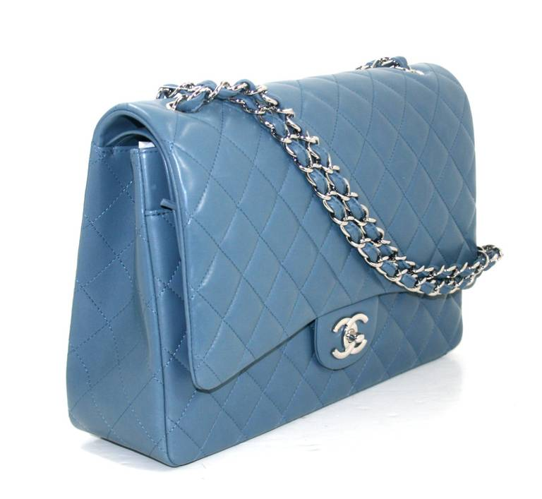 Chanel Blue Lambskin Maxi Shoulder Bag 3