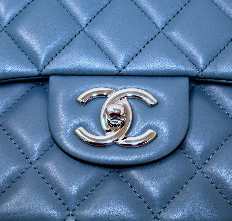 Chanel Blue Lambskin Maxi Shoulder Bag 4
