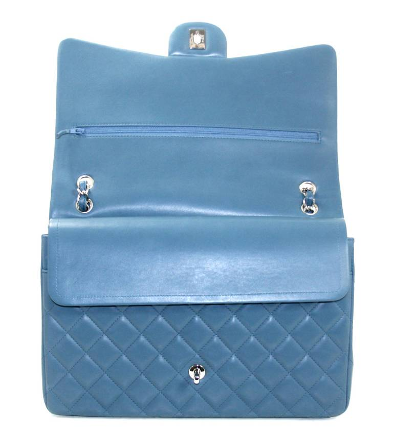 Chanel Blue Lambskin Maxi Shoulder Bag 5