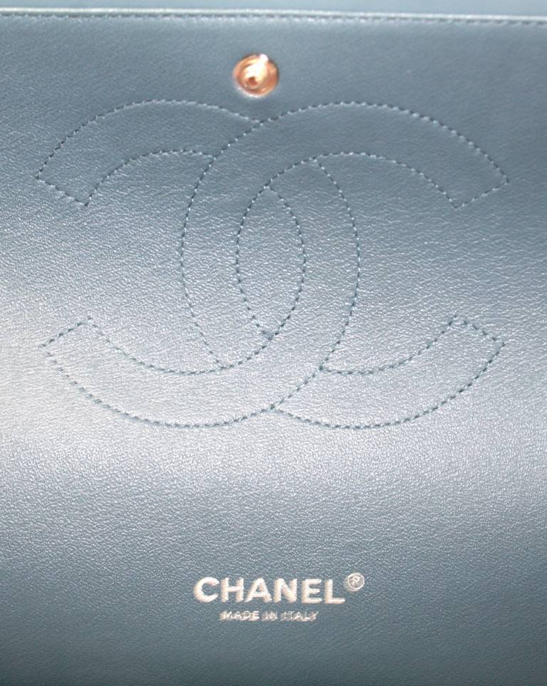 Chanel Blue Lambskin Maxi Shoulder Bag 7