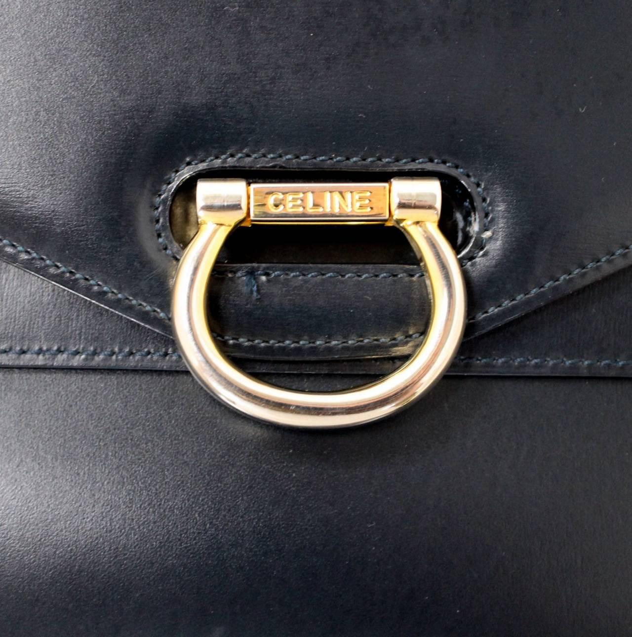 celine navy leather handbag boogie