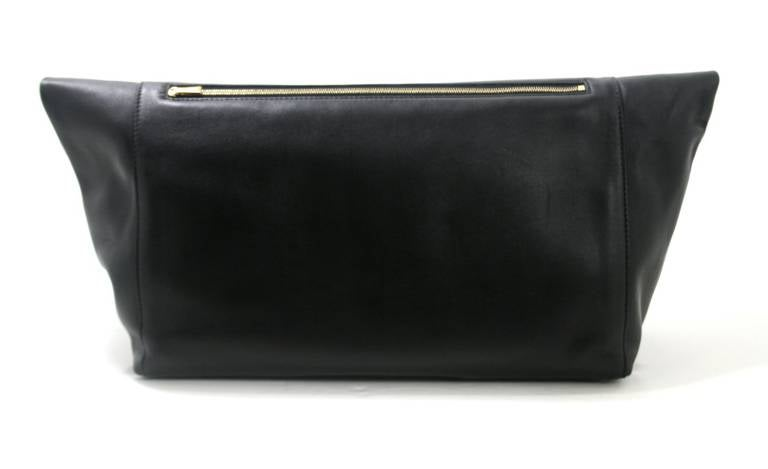 Celine Black Leather Large Fold Over Clutch at 1stdibs