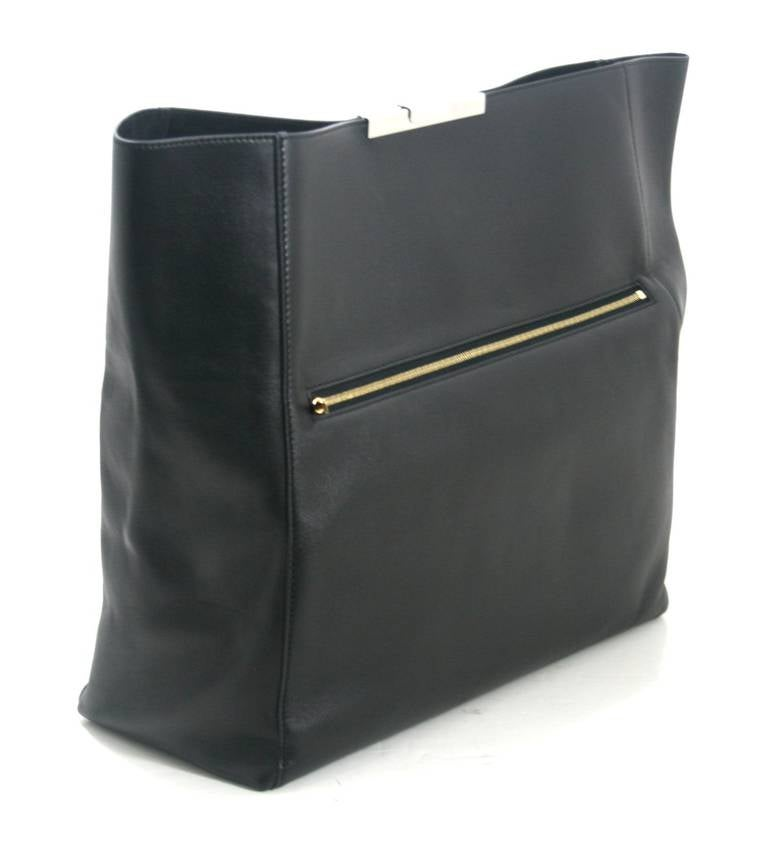 cn replica bags - Celine Black Leather Large Fold Over Clutch at 1stdibs