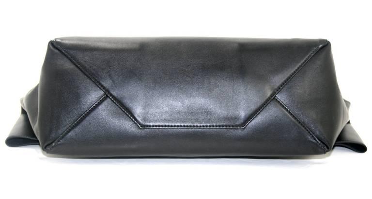 Celine Black Leather Large Fold Over Clutch at 1stdibs