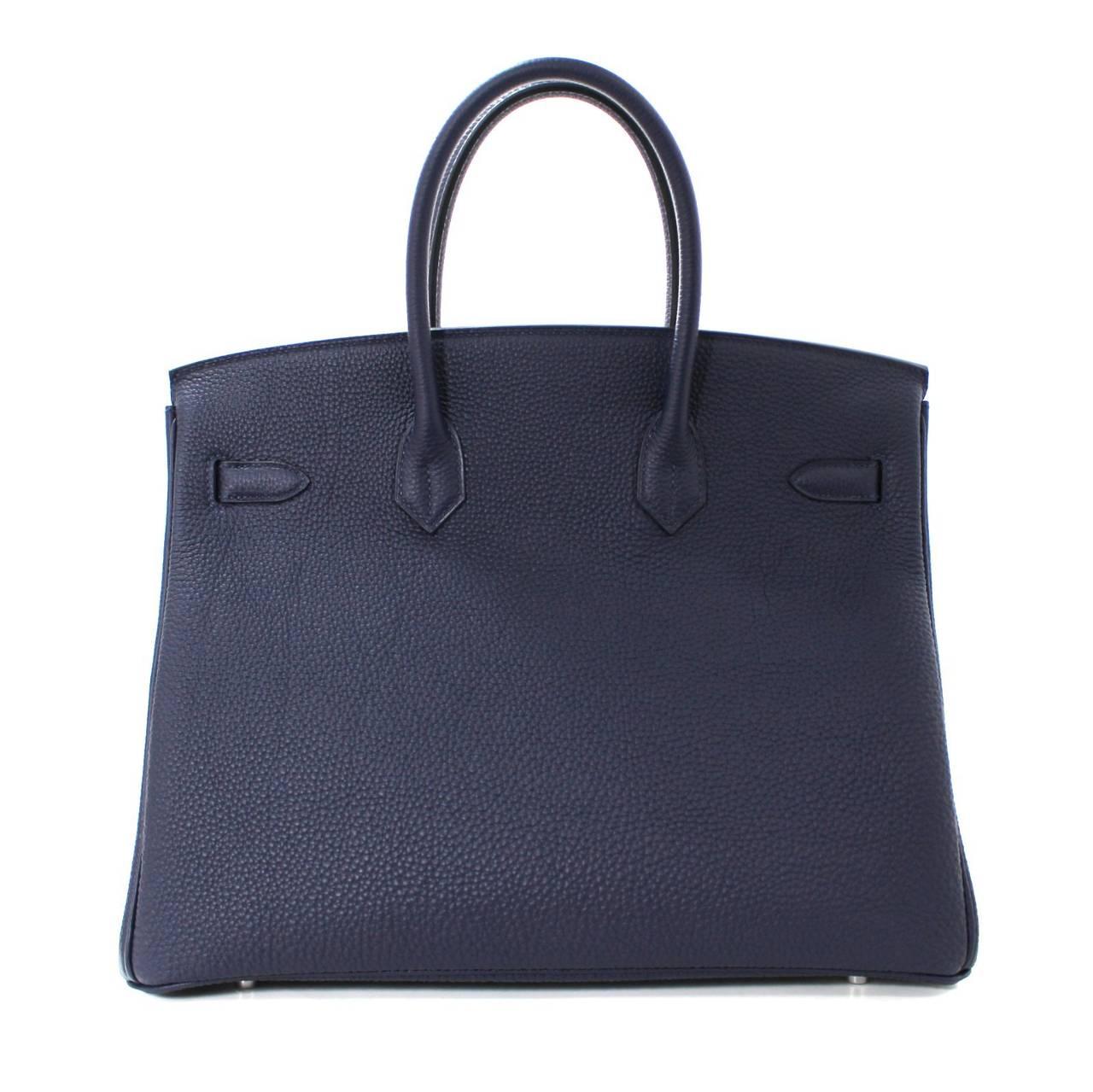 Hermes 35 cm Navy Blue Nuit Togo Leather Birkin with Palladium 2