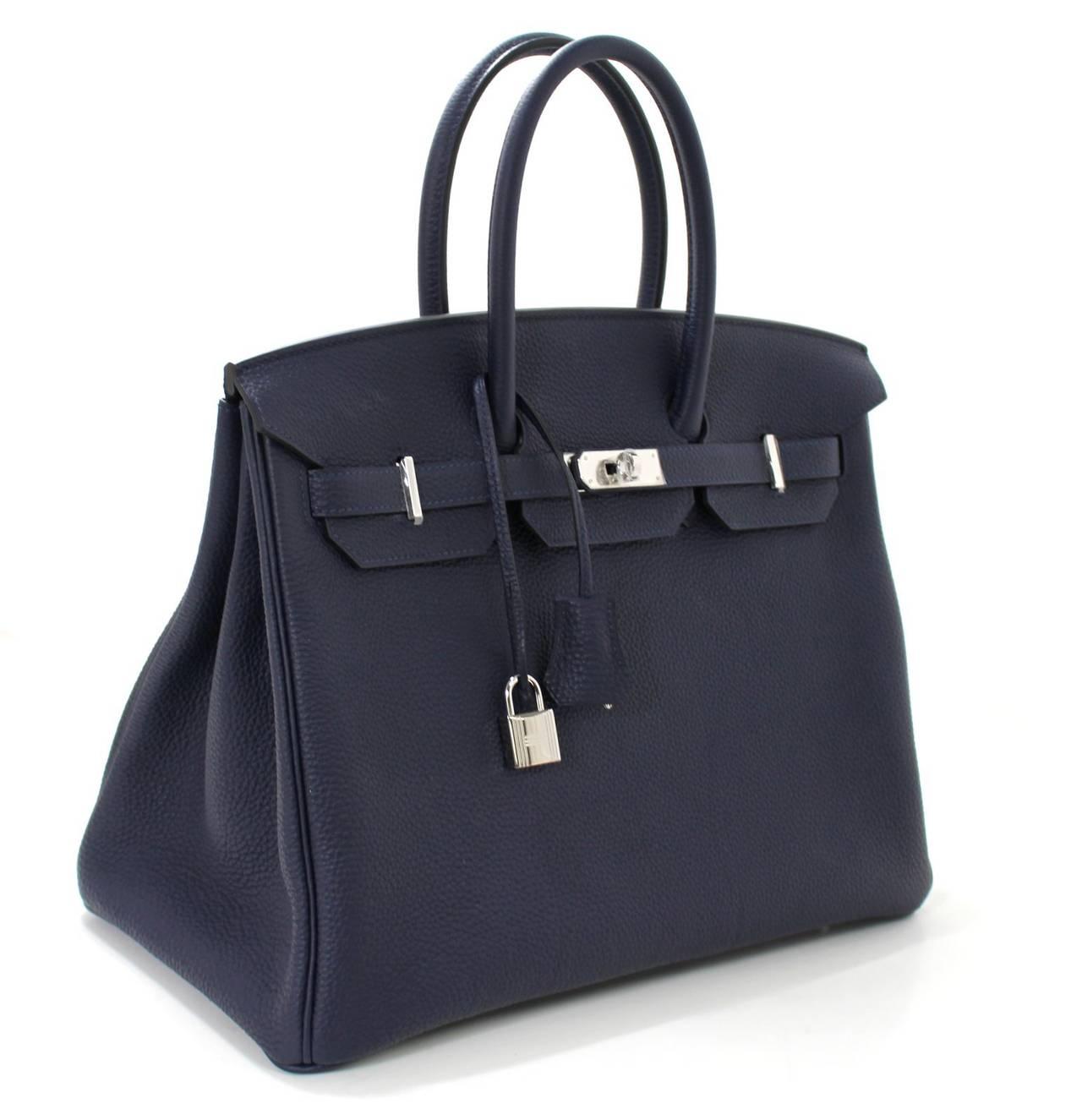 Hermes 35 cm Navy Blue Nuit Togo Leather Birkin with Palladium 3