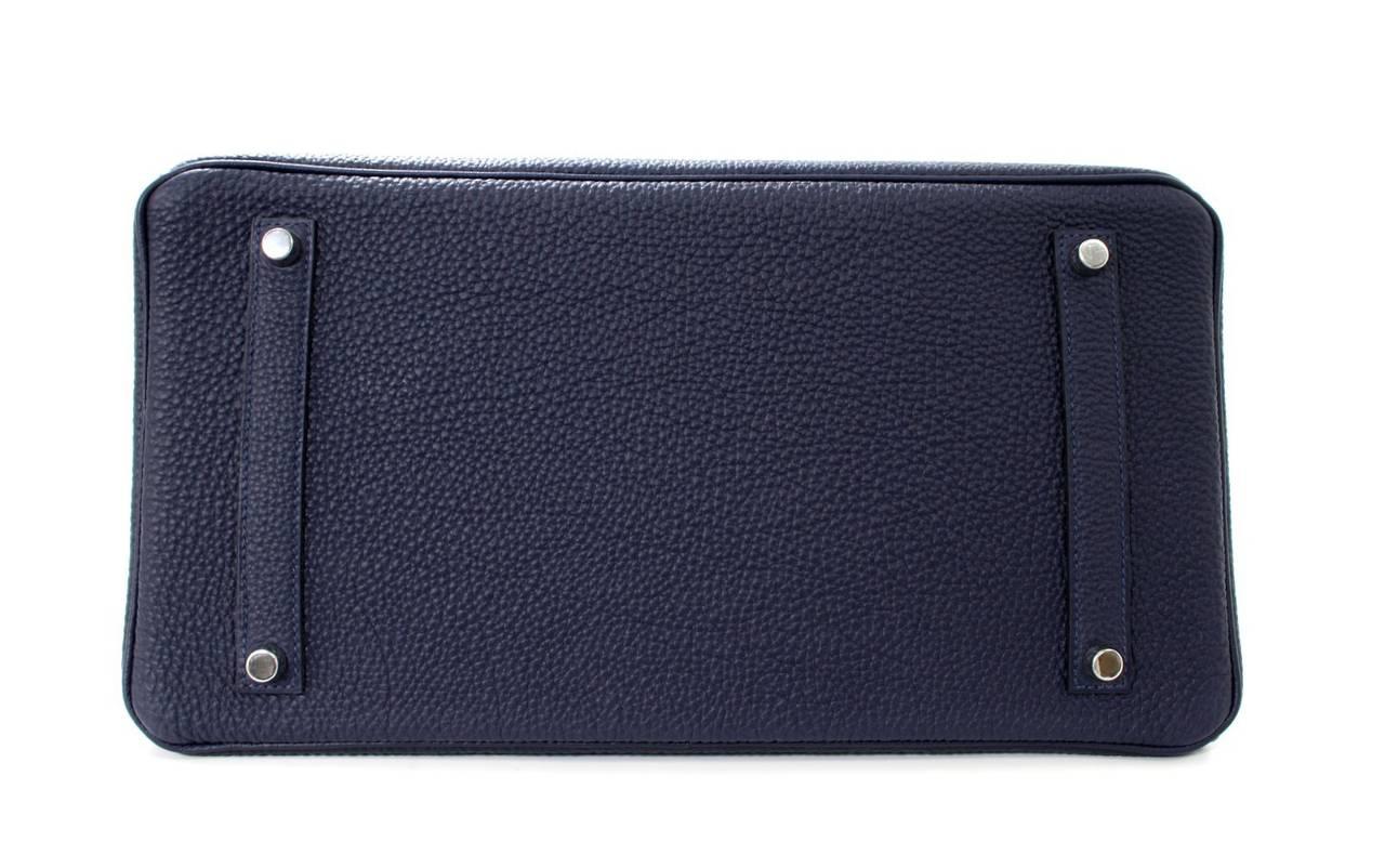 Hermes 35 cm Navy Blue Nuit Togo Leather Birkin with Palladium 4