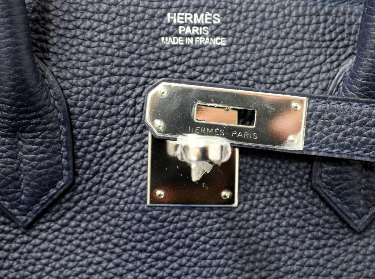 Hermes 35 cm Navy Blue Nuit Togo Leather Birkin with Palladium 6