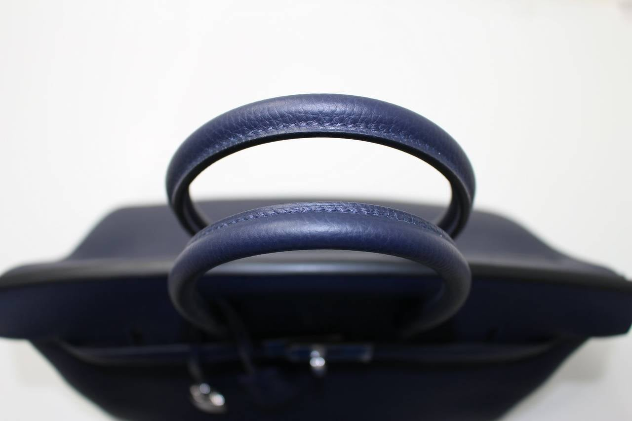 birkin bag inspired - hermes blue izmir clemence kelly 32cm palladium hardware