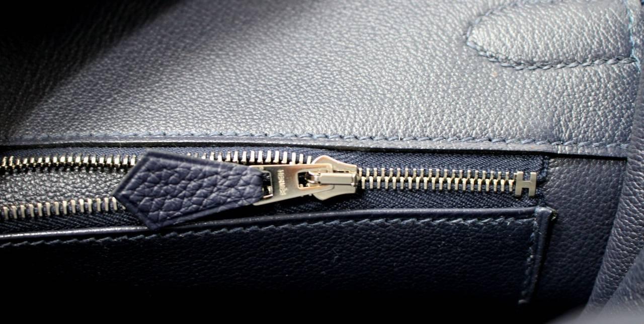 Hermes 35 cm Navy Blue Nuit Togo Leather Birkin with Palladium 9