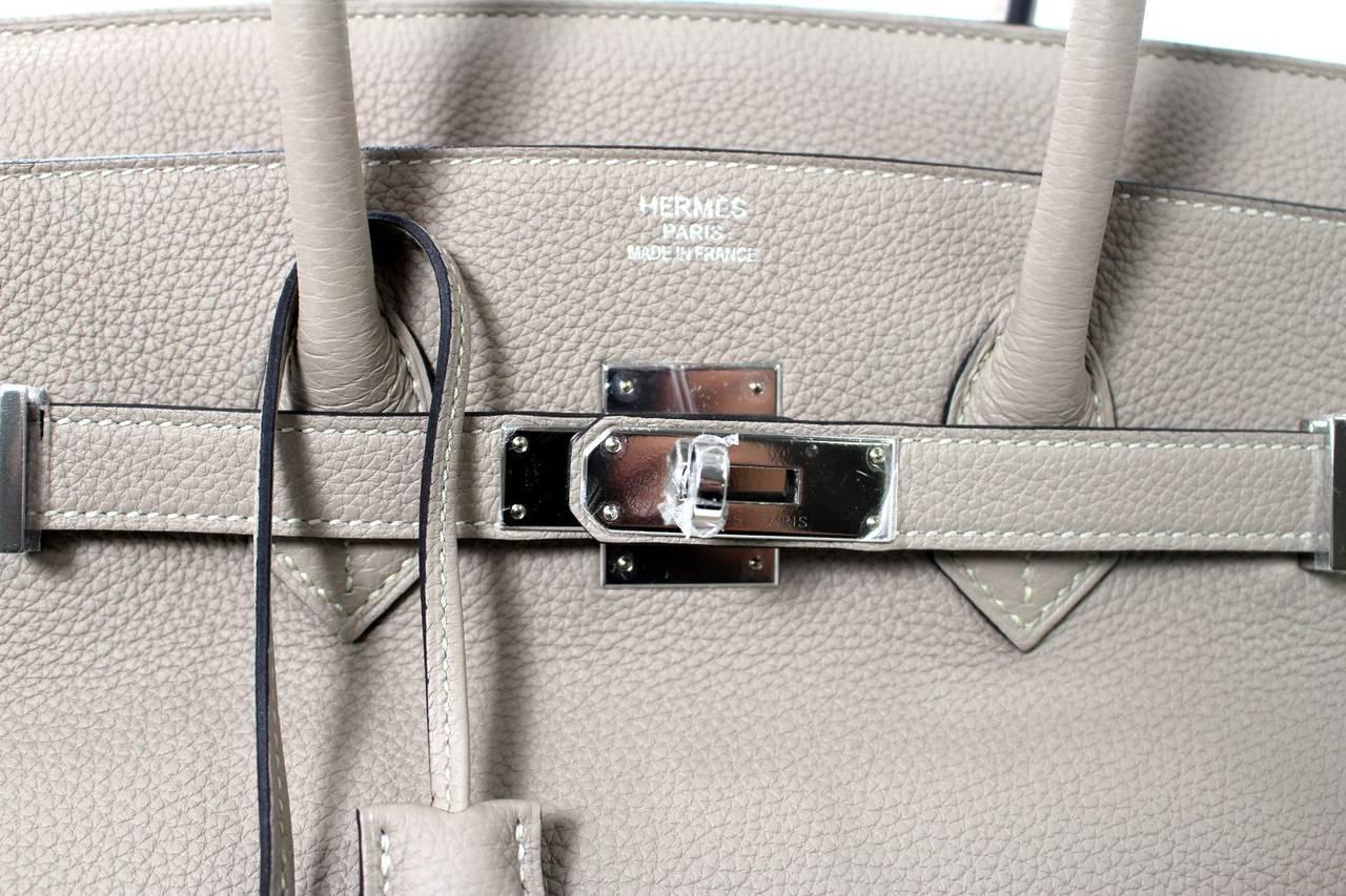 hermes gris tourterelle birkin bag- togo ghw 35 cm