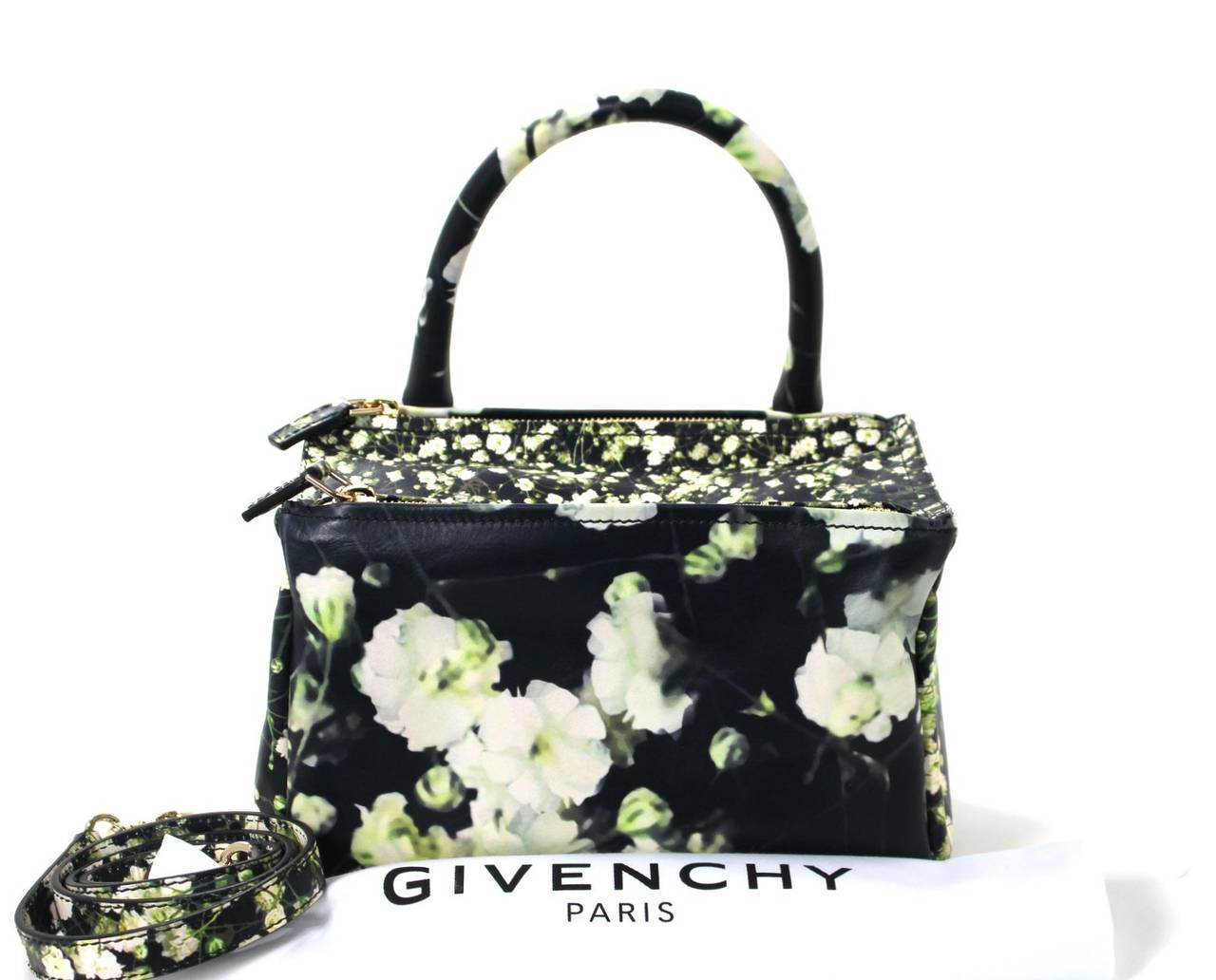 Givenchy Black Leather Babys Breath Pandora Messenger Bag 10