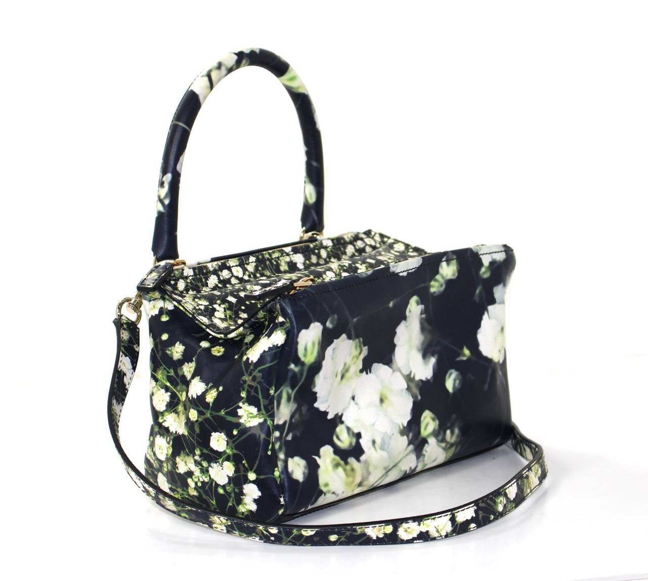 Givenchy Black Leather Babys Breath Pandora Messenger Bag 3