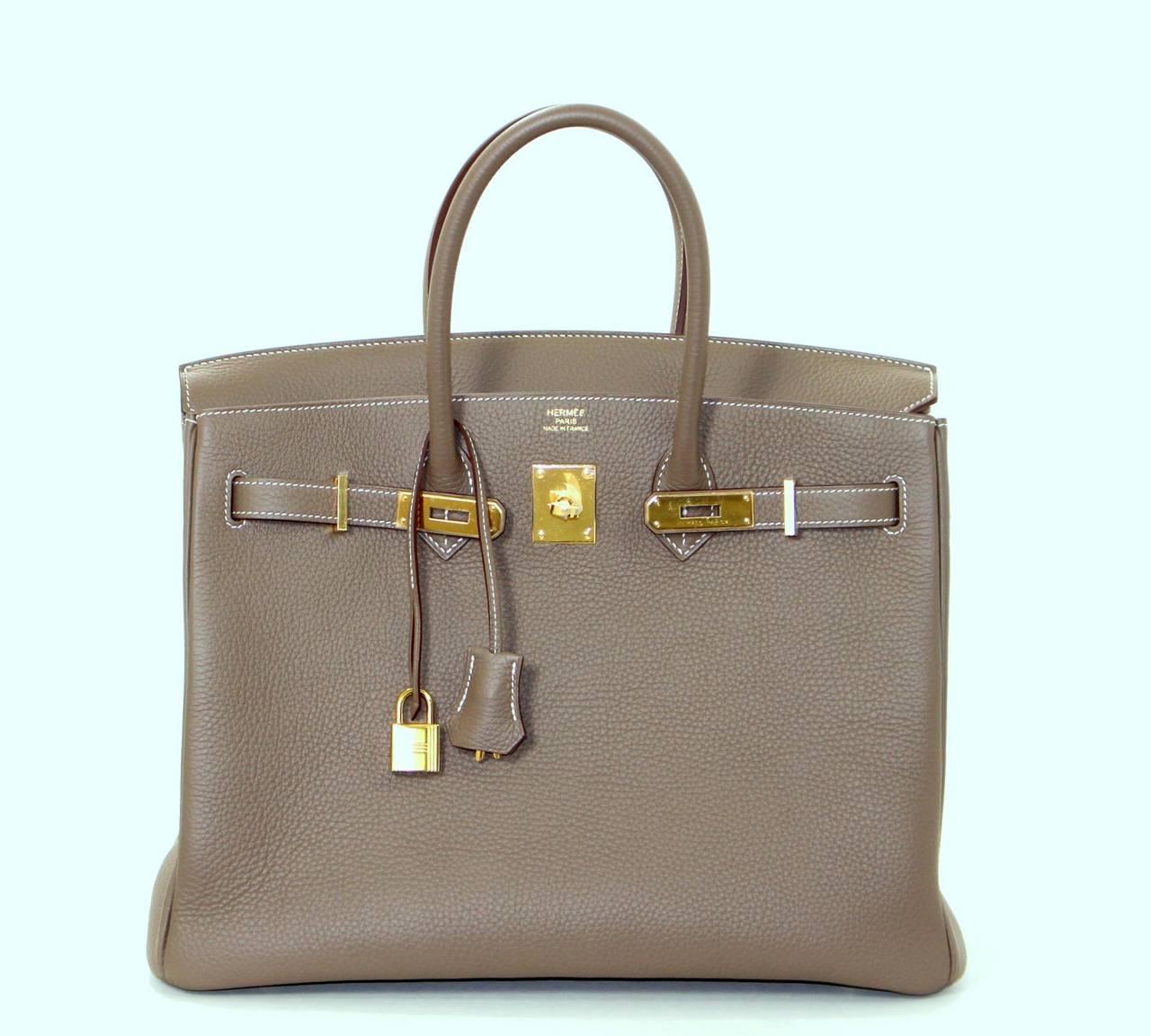 Herm 232 S Etoupe Togo Leather Birkin Bag With Gold 35 Cm