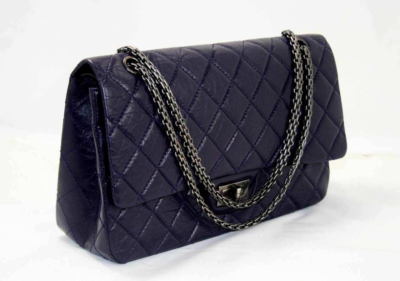 Chanel Dark Purple Leather 2.55 Reissue Large Flap Bag at ...
