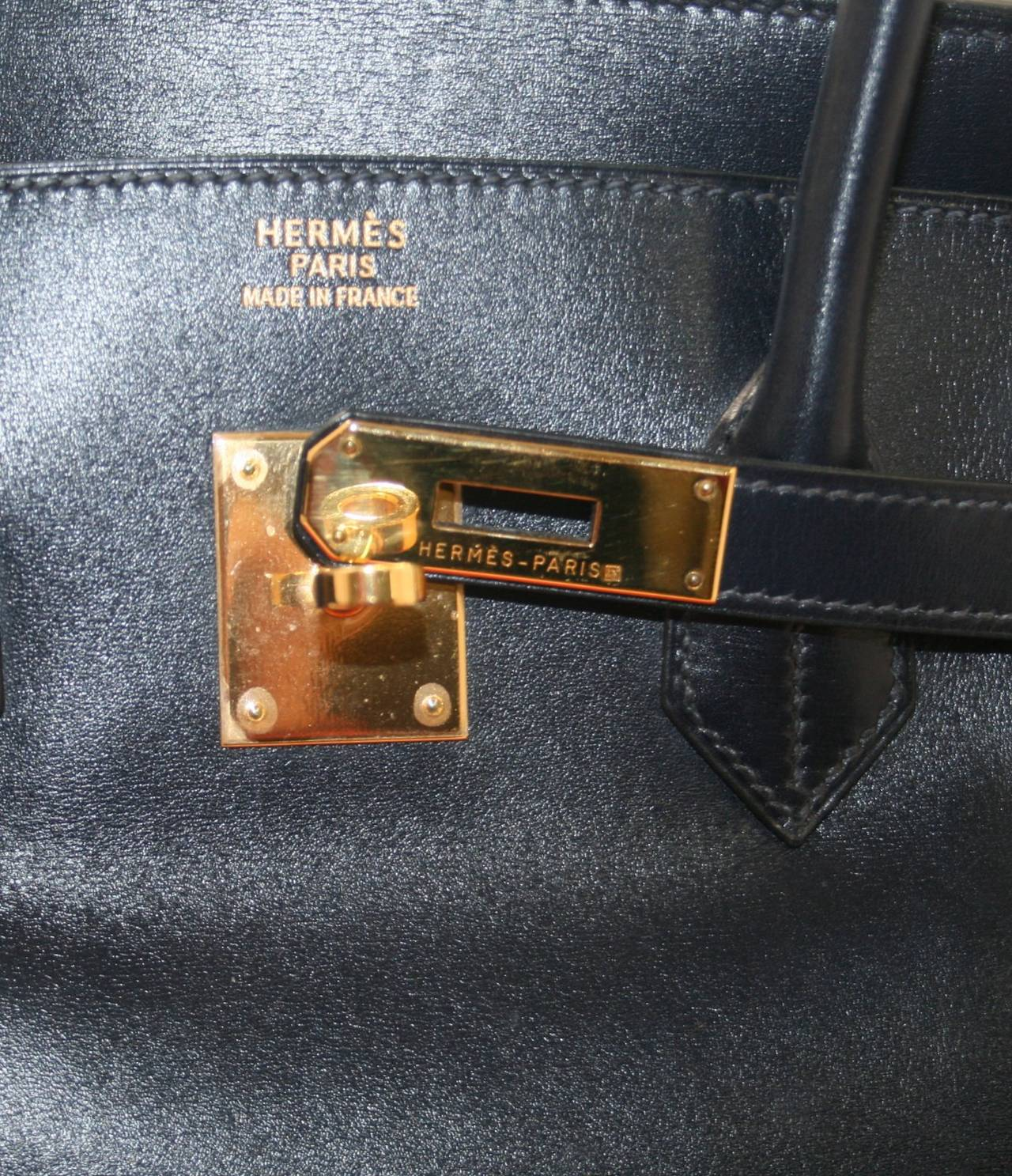 knockoff hermes - Herm��s 35 cm Indigo Box Calf Leather Birkin Bag with Gold at 1stdibs