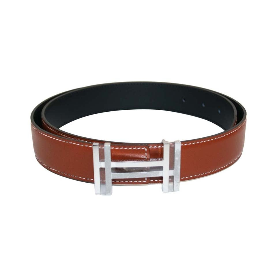 hermes fauve reversible leather constance belt small at