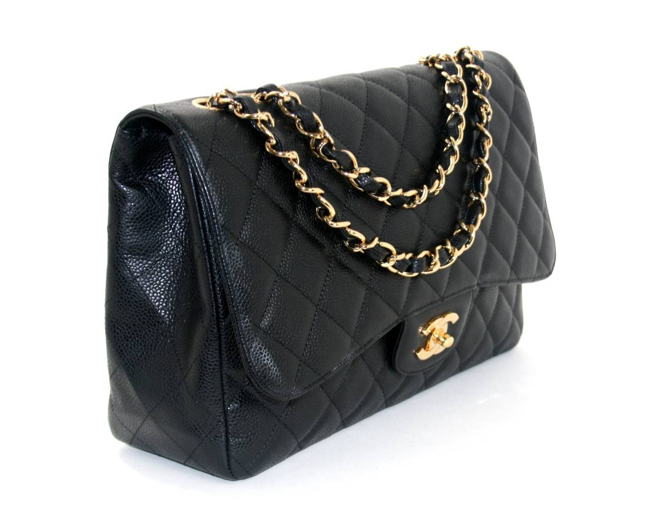 chanel black caviar leather jumbo classic flap bag ghw at