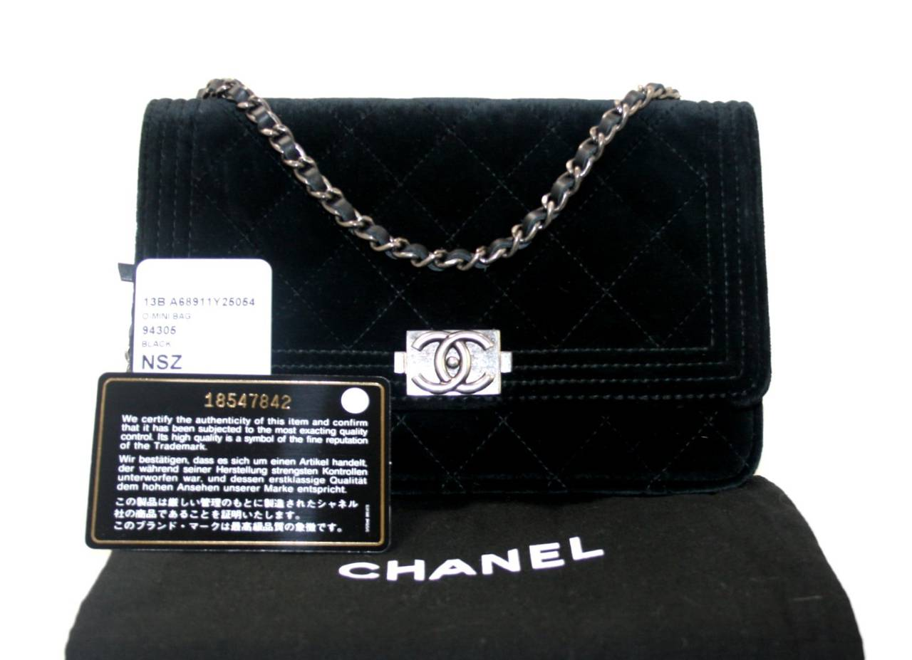 Chanel Black Velvet WOC Boy Bag Wallet on a Chain Ltd. Ed. 10