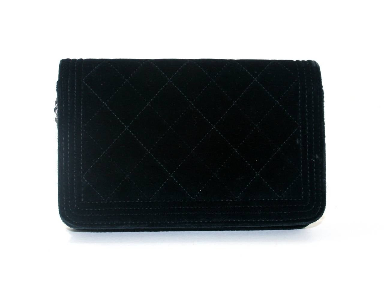 Chanel Black Velvet WOC Boy Bag Wallet on a Chain Ltd. Ed. 2