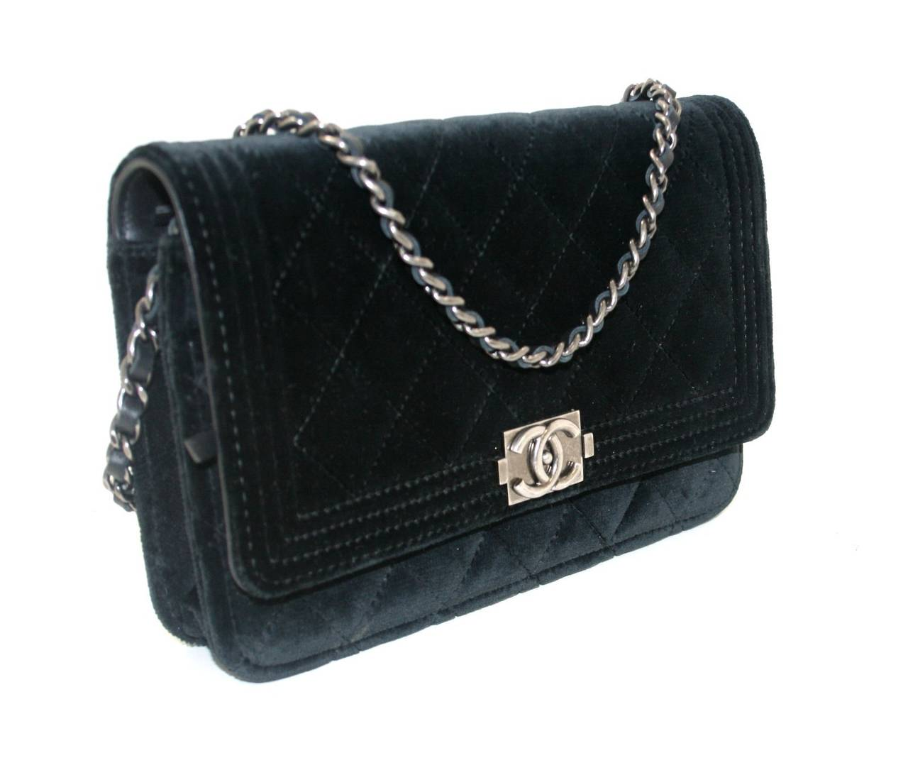 Chanel Black Velvet WOC Boy Bag Wallet on a Chain Ltd. Ed. 3
