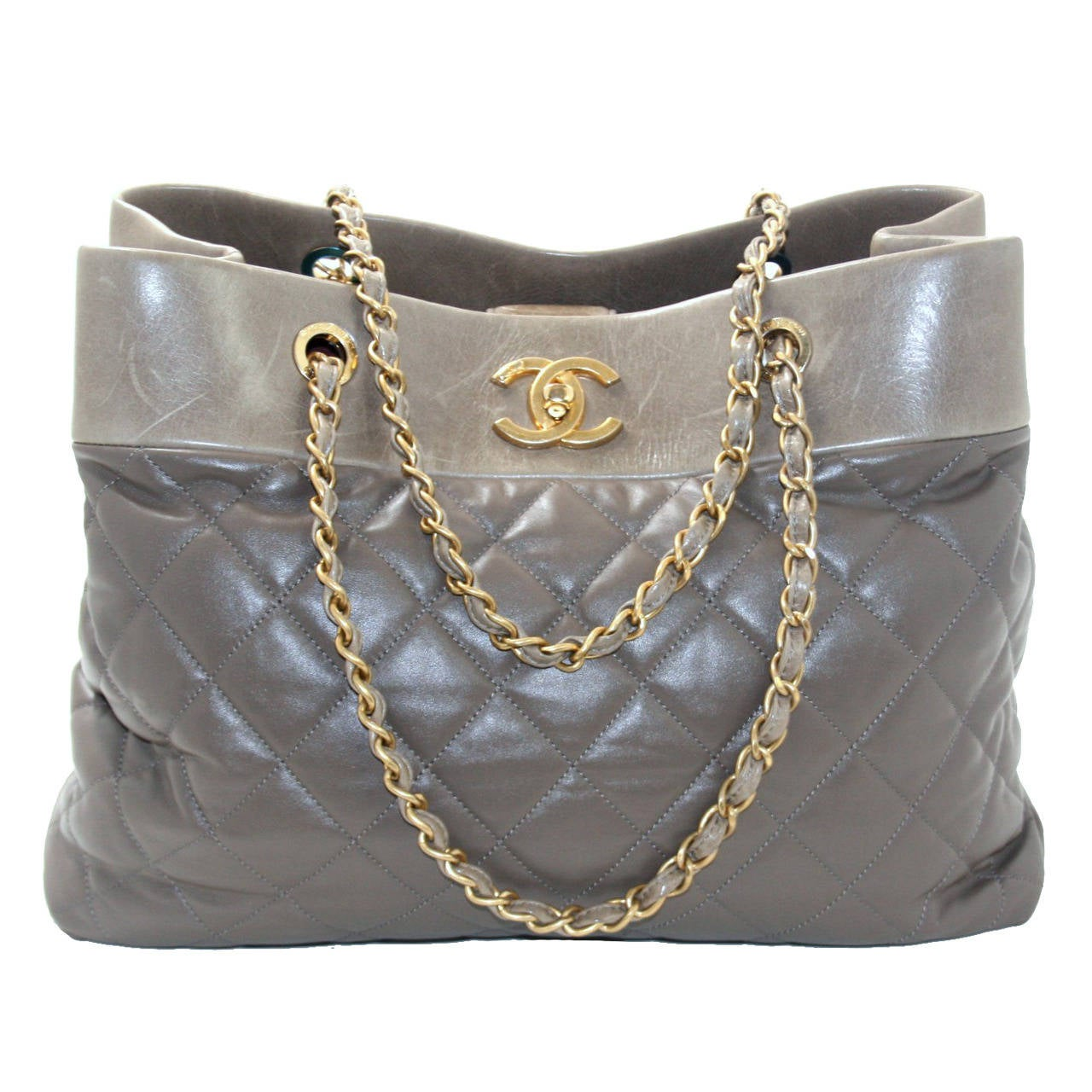 Chanel Taupe Leather Soft Elegance Large Tote At 1stdibs