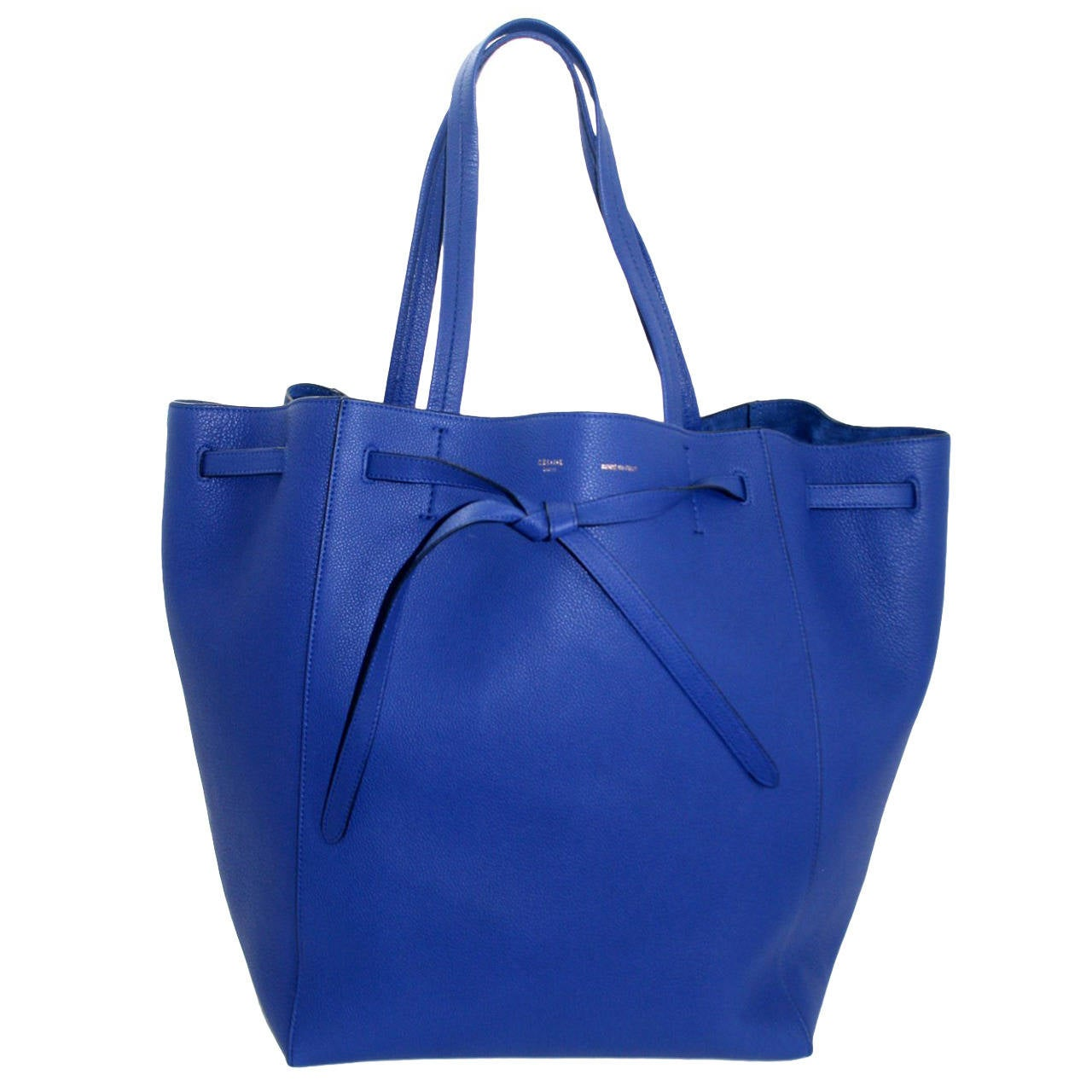 celine soft leather tote - Celine Blue Leather Medium Cabas Phantom Tote Bag with Belt at 1stdibs