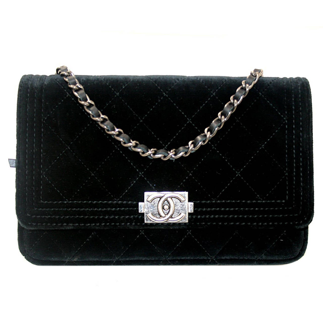 Chanel Black Velvet WOC Boy Bag Wallet on a Chain Ltd. Ed. 1