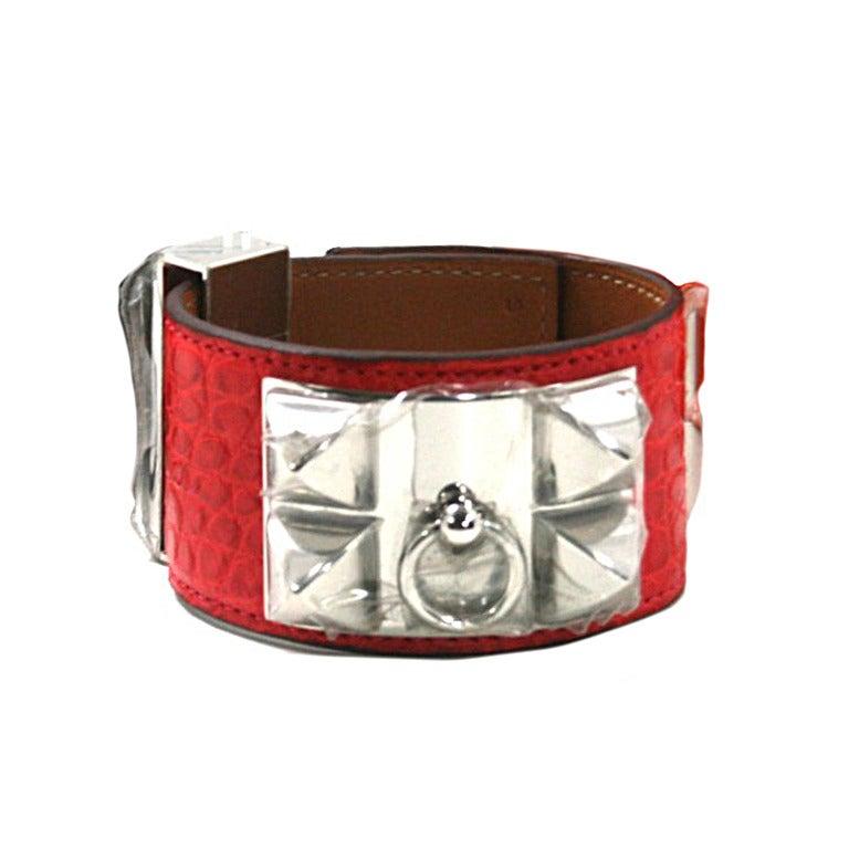 Hermès Geranium Alligator CDC Cuff Bracelet with Palladium ...