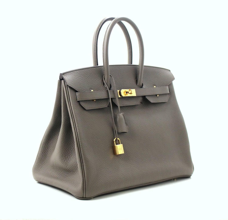 hermes handbag birkin 35 togo gray tourterelle phw