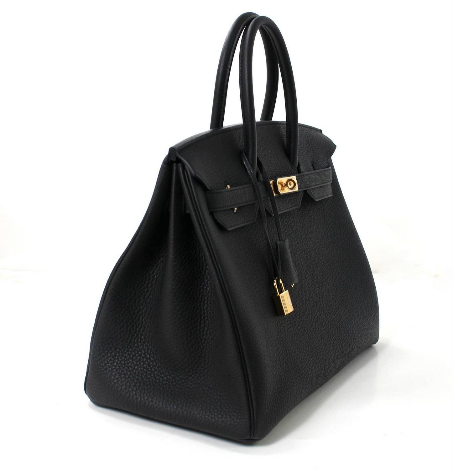 Hermes Black Birkin Bag- 35 cm, Togo Leather with Gold Hardware at ...