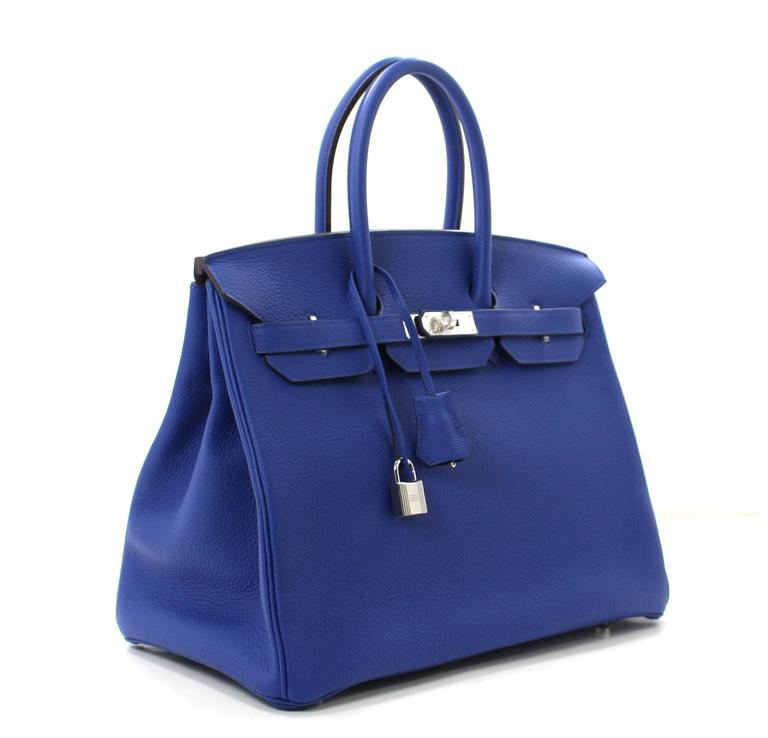 Hermes Blue Electrique Togo Birkin Bag 35 Cm Size With