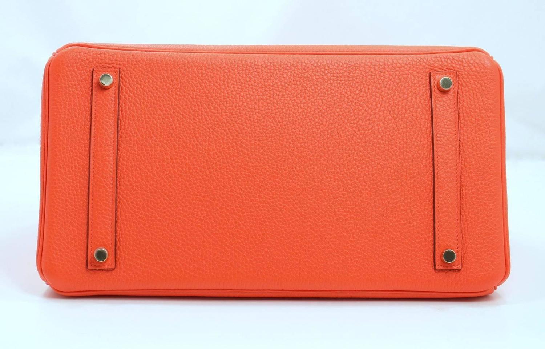 Herm��s Orange Poppy Togo Birkin with GHW- 35 cm size, Fluorescent ...