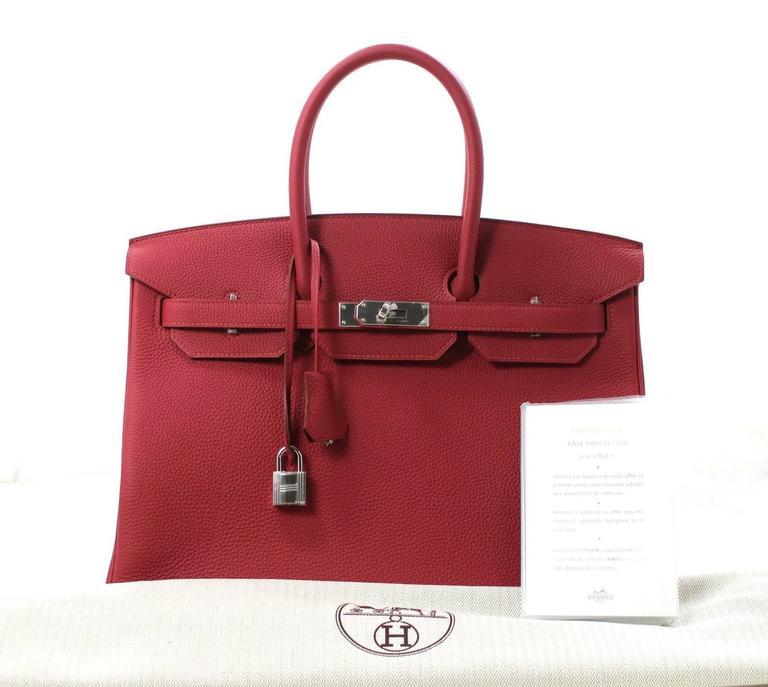 Hermès Rubis Togo Birkin Bag- 35 cm, PHW Ruby Red 9