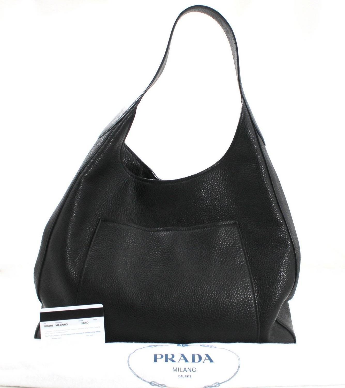 prada messager bag - PRADA Black Pebbled Leather Large Hobo For Sale at 1stdibs