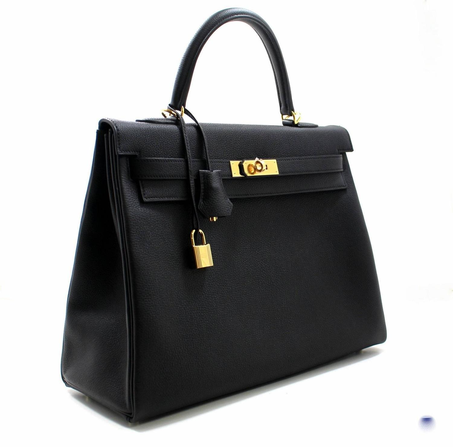 knock off birkin bags - Herm��s Black Togo Leather Kelly Bag- 35 cm with Gold Hardware For ...
