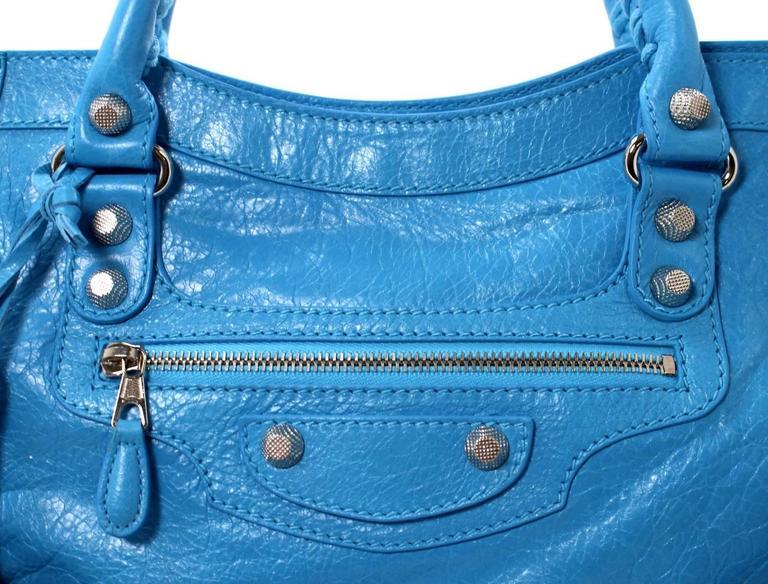 Balenciaga Blue Leather Giant City 12 Bag- Nickel HW 4