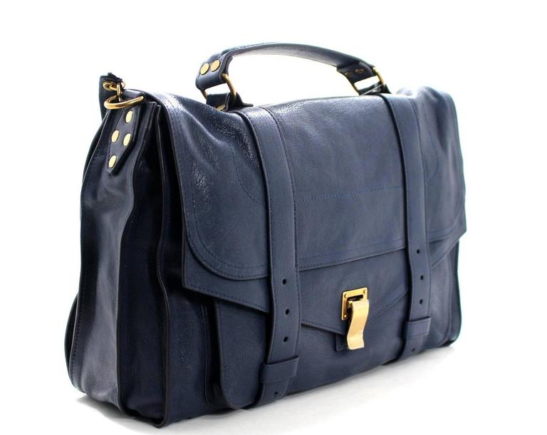 Proenza Schouler PS1 Large Lux Messenger Bag- Midnight Blue Leather 2