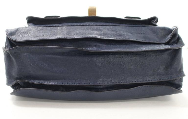 Proenza Schouler PS1 Large Lux Messenger Bag- Midnight Blue Leather 4