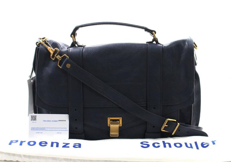 Proenza Schouler PS1 Large Lux Messenger Bag- Midnight Blue Leather 10