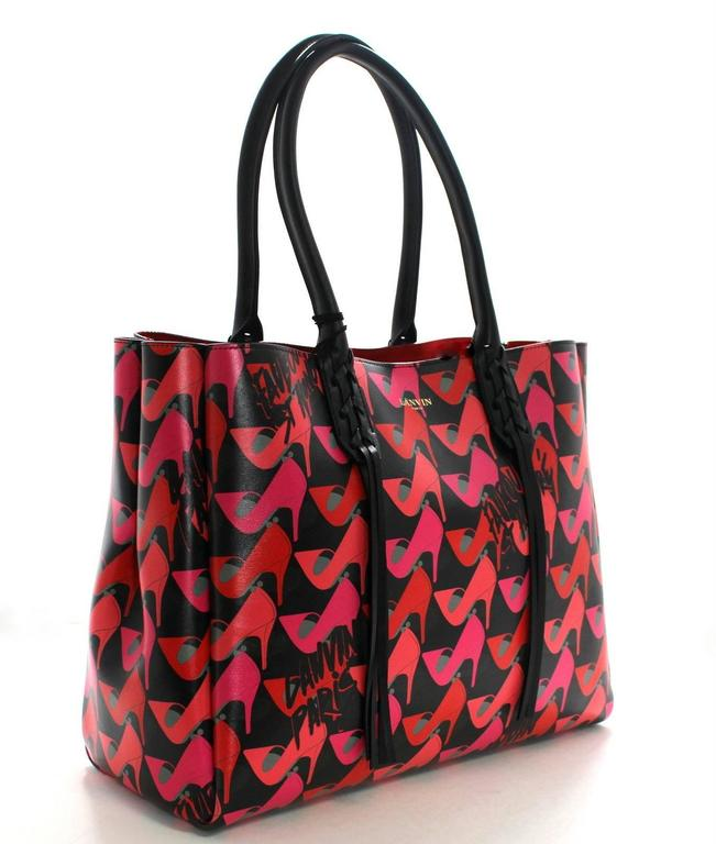 Lanvin Pink Shoe Print on Black Leather Tote Bag 2