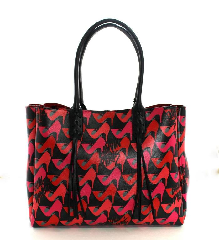 Lanvin Pink Shoe Print on Black Leather Tote Bag 3