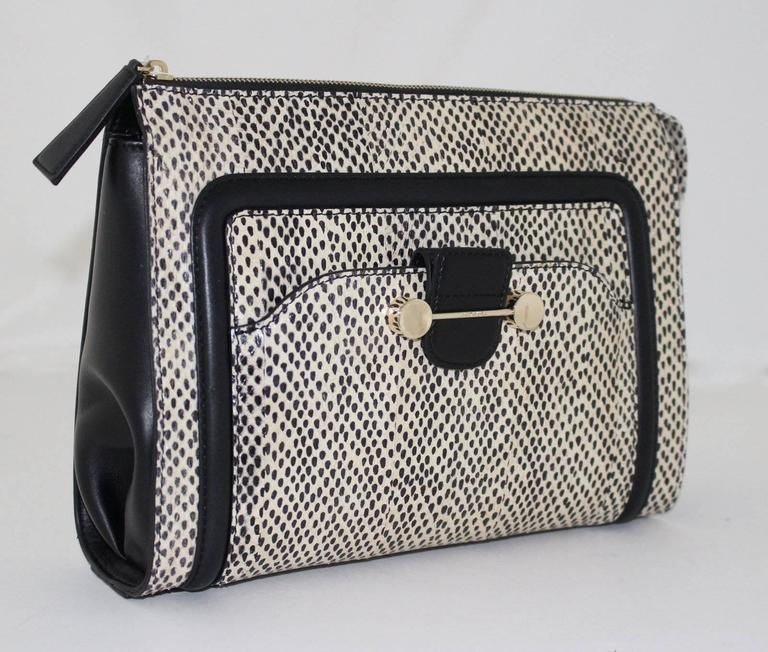 Jason Wu Daphne Water Snake Clutch with Black Leather 3