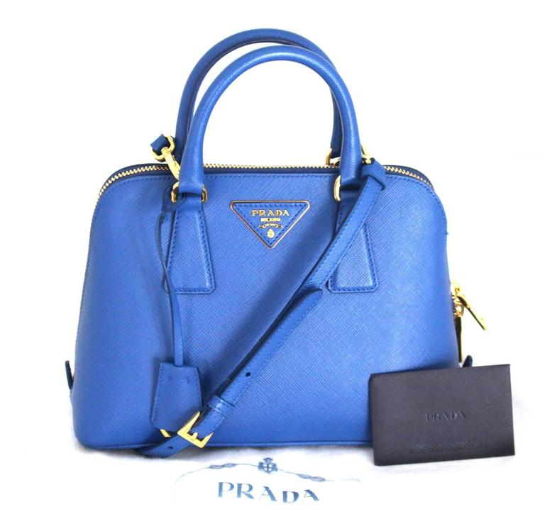 Prada Cobalt Azzuro Saffiano Promenade Bag- Mini 7